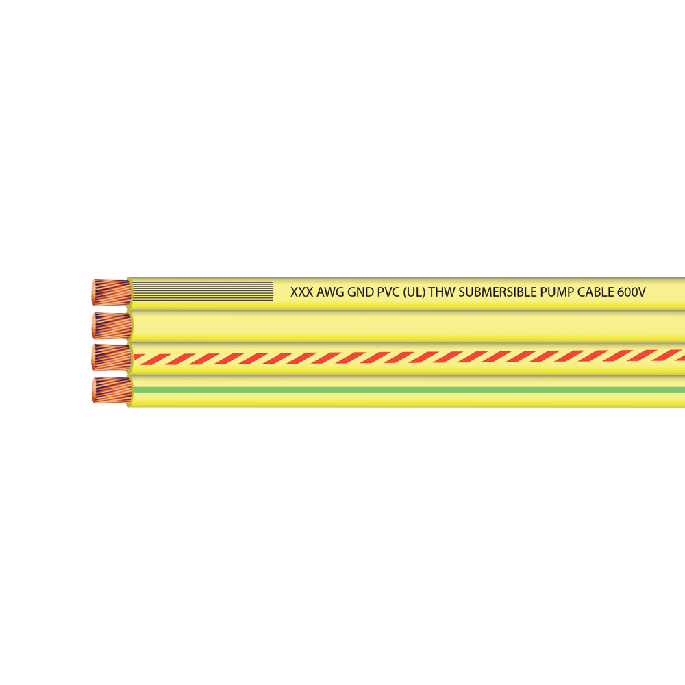 6 AWG 3 CONDUCTOR + GROUND FLAT YELLOW SUB PUMP 600 VOLTS