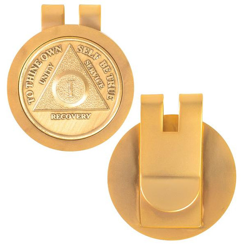 Money Clip Medallion Holder. Gold Shiny Finish. Ka1
