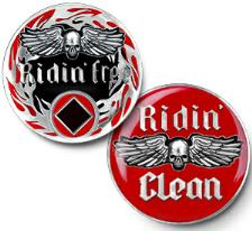 NA Ridin' Free - Ridin' Clean - Narcotics Anonymous Specialty Tri-Plate Medallion