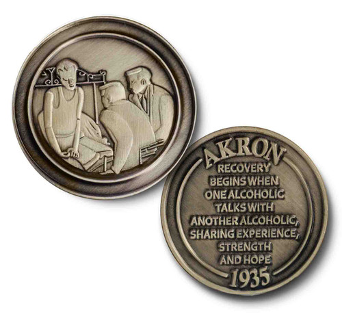 Man On Bed AA 1935 Akron, Ohio Bronze Recovery Coin