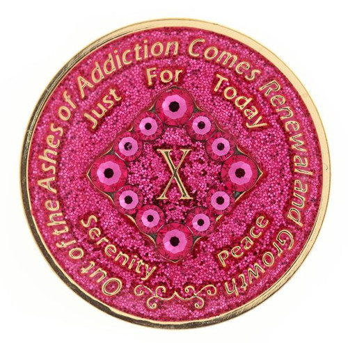NA Swarovski PK Bling Glitter Pink Coin (Yrs 1-40).