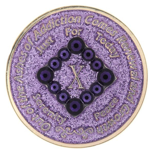 NA PR Bling Glitter Lavender Coin (Yrs 1-40).