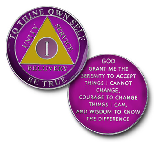 Amethyst Colored TRIANGLE  TRI-PLATE RECOVERY MEDALLION AA Alcoholics Anonymous Anniversary Coin