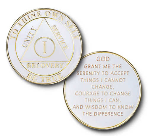 White and Gold  - Anniversary Recovery Coin AA Alcoholics Anonymous Anniversary Coin