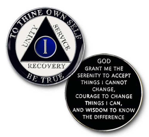 Blue Black White Anniversary Coin Medallion AA Alcoholics Anonymous Anniversary Coin