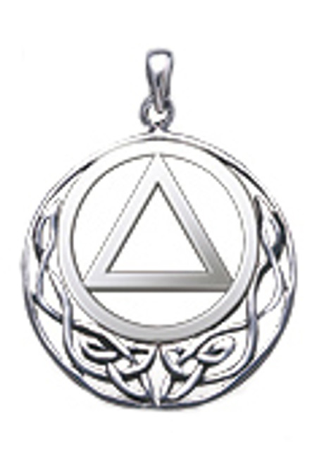 alcoholics anonymous round pendant, sterling silver
