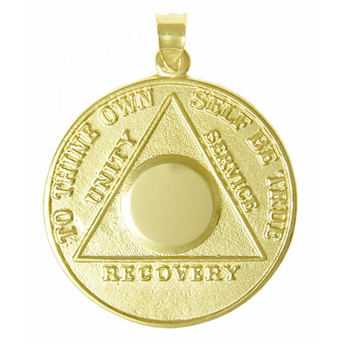DESCRIPTION 14k Large Recovery Medallion with Serenity Prayer on Back Available in Blank or Custom Engrave with Number or Initials Alcoholics anonymous