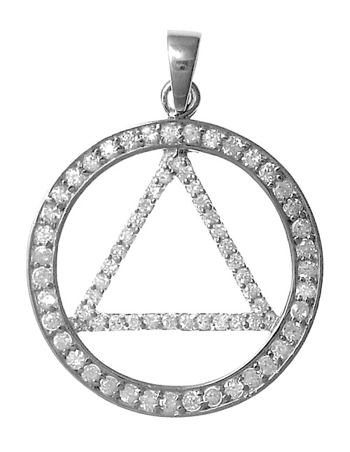 Style #1025, Sterling Silver, AA Symbol Pendant, Large Circle Triangle with Beautiful Cz's
