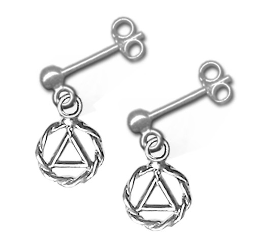 alcoholics anonymous recovery dainty sterling earrings