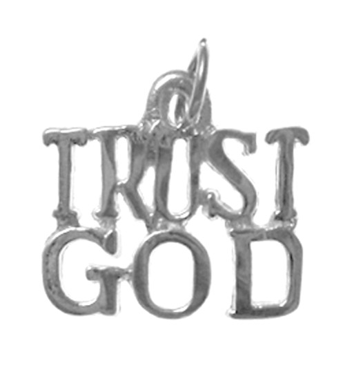 "Style #167-15, Sterling Silver, Sayings Pendant, ""TRUST GOD"""