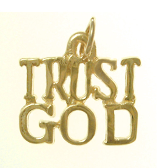 "Style #167-15, 14K Gold, Sayings Pendant, ""TRUST GOD"""