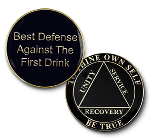 Specialty Medallion AA Alcoholics Anonymous Blank Black Coin
