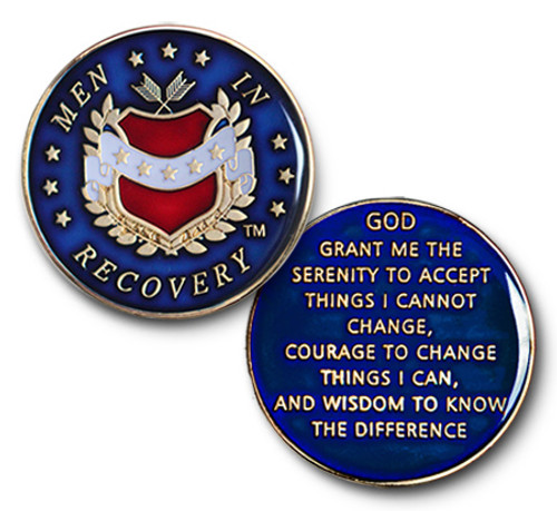 men in recovery, blue, Specialty, Recovery, Medallion, coin, aa, na, prayer, god, serenity prayer, men