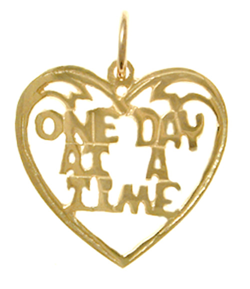 "Style #156-15, 14k Gold, Sayings Pendant, Heart with ""One Day At A Time"""