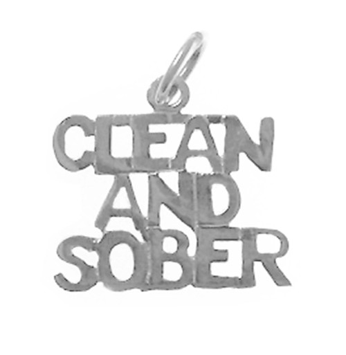 "Style #155-15, Sterling Silver, Sayings Pendant, ""Clean And Sober"""