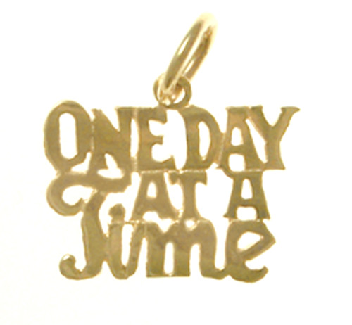 "Style #183-15, 14k Gold, Sayings Pendant, ""One Day At A Time"""