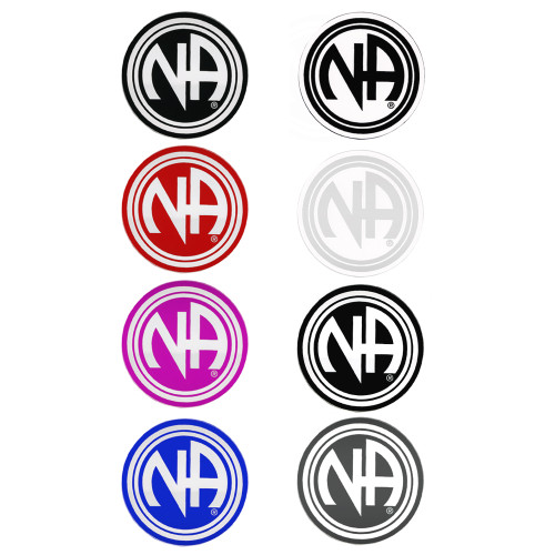 """Set of 8 3"""" RS7 Round """"NA"""" Initial Recovery Stickers, All 8 Different Colors"""