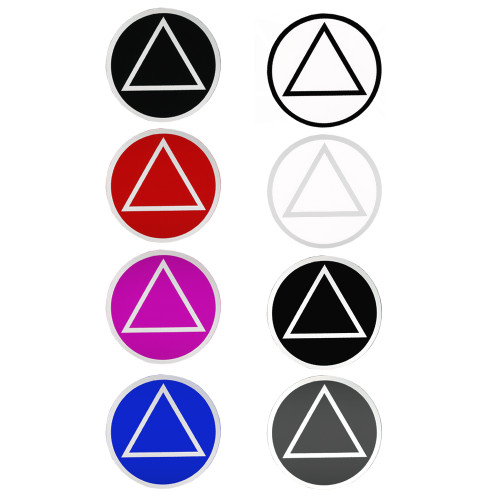 """Set of 8 3"""" RS5 Round AA Recovery Symbol Stickers, All 8 Different Colors"""