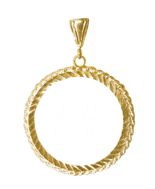 Style #836-14, Brass, Medallion Holder, Rope Style, Antiqued Finish