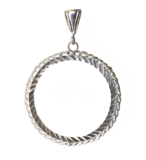 Style #836-14, Sterling Silver, AA Medallion Holder, Rope Style