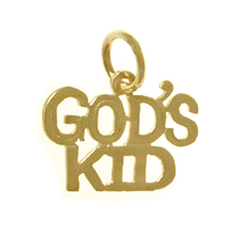 "Style #319-15, 14K Gold, Sayings Pendant, ""GOD'S KID"""