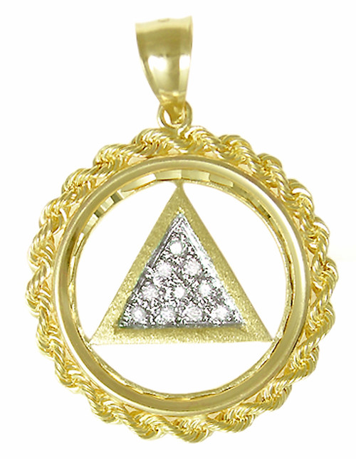 Style #36-2, 14k Gold, AA Symbol Pendant, Rope Circle w/10, 1pt. Paved Diamonds set in center of Triangle