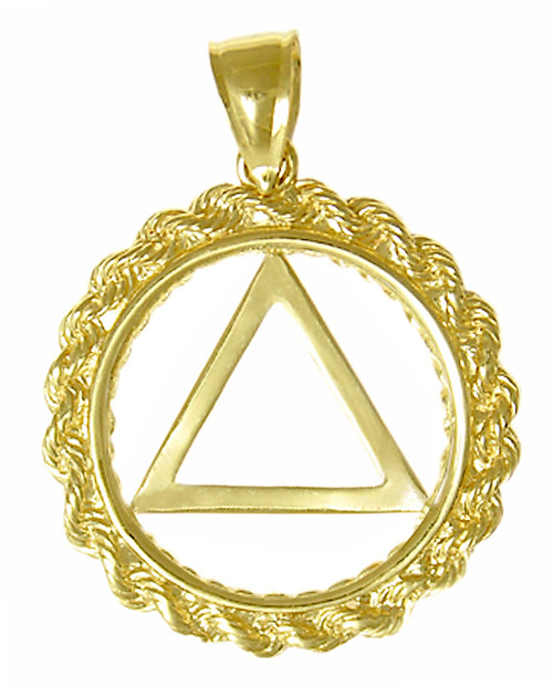 Style #579-2, 14k Gold Pendant, AA Symbol in a Rope Style Circle, Medium Size