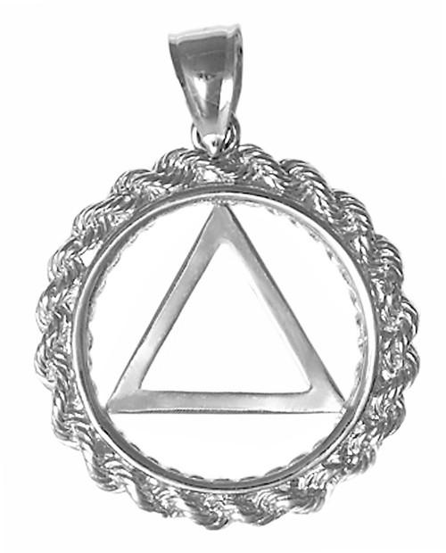 Style #579-2, Sterling Silver Pendant, AA Symbol in a Rope Style Circle, Medium Size