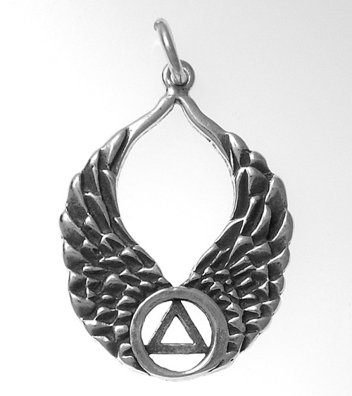 Style #821-5, Sterling Silver Pendant, AA Recovery Symbol on Beautiful Angel Wings