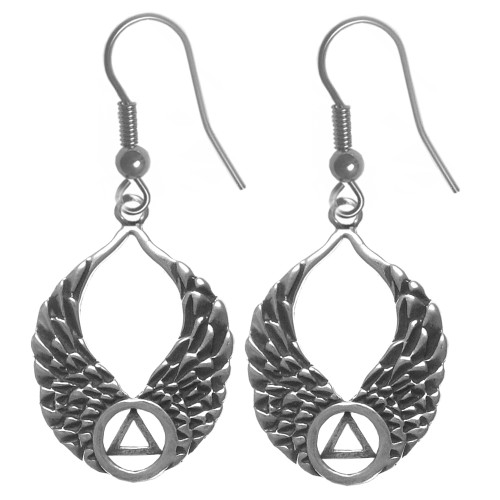 Style #857-6, Sterling Silver Earrings, AA Recovery Symbol on Beautiful Angel Wings