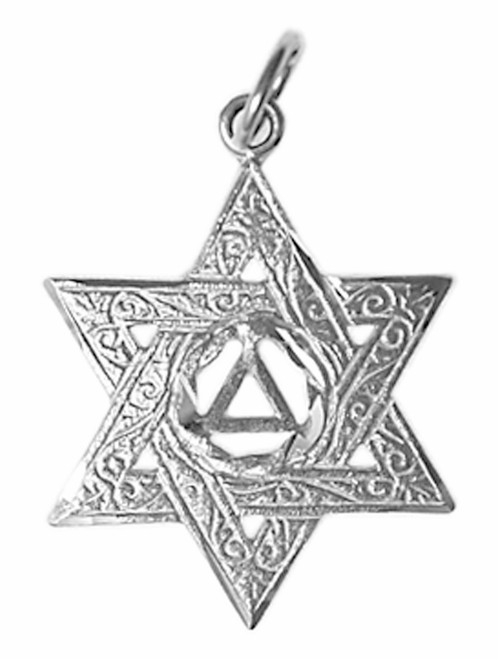 Style #518-4, Sterling Silver Pendant, AA Symbol in a Jewish Star of David, Medium/Large Size