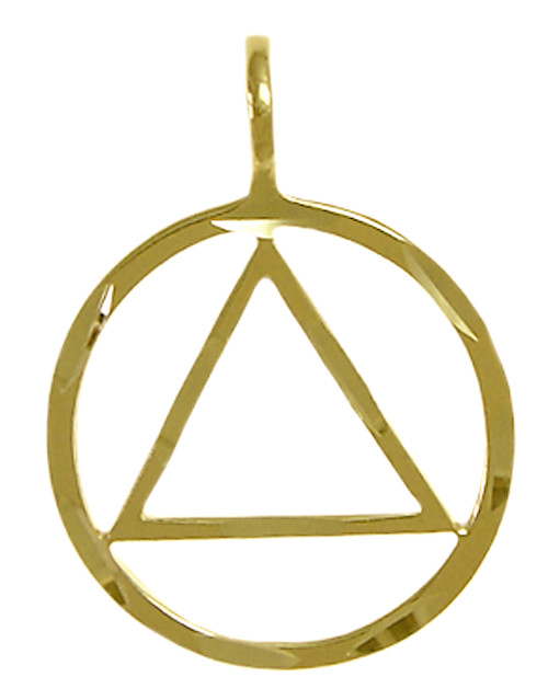 Style #528-1, 14k Gold, Circle Triangle Pendant with Diamond Cut Accents, Lrg/Med Size