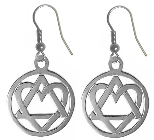 "Style #702-6, Sterling Silver, AA Symbol Earrings with a Open Heart ""Love & Service"""