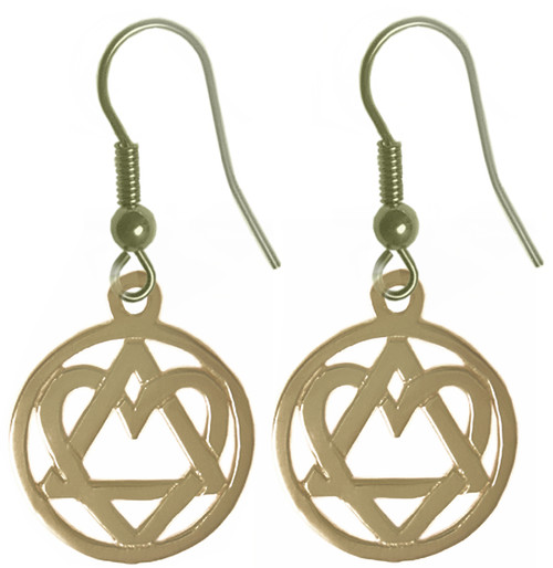 "Style #702-6, Brass, AA Symbol Earrings with a Open Heart ""Love & Service"", Antiqued Finish"