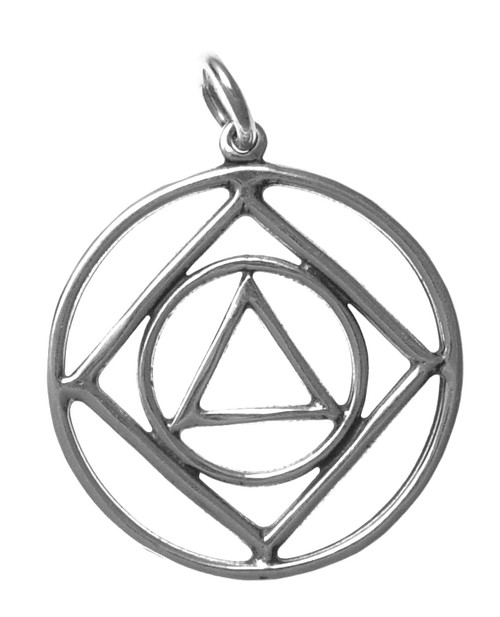 Style #45-16, Sterling Silver, AA & NA Anonymous Dual Symbol Pendant, Large Size