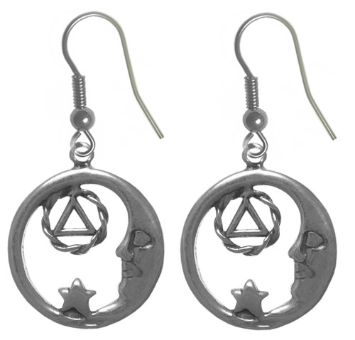 Style #706-6, Sterling Silver, Moon and Star Earrings with AA Symbol