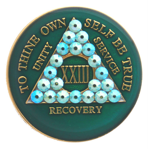 CRYSTALLIZED GREEN PERIDOT MEDALLION AA Alcoholics Anonymous Anniversary Coin