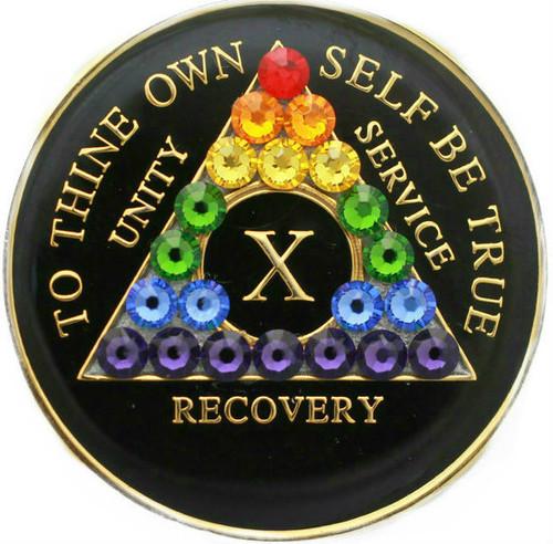 Lesbian gay LGBT Rainbow Black Medallion