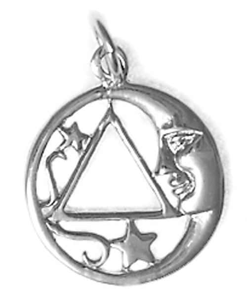 Style #888-3, Sterling Silver, Moon and Star Pendant with AA Symbol, Medium Size