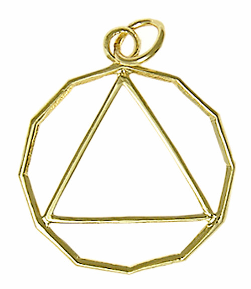 Style #866-2, 14k Gold, 12 Sided Circle Triangle Pendant, Lrg/Med Size