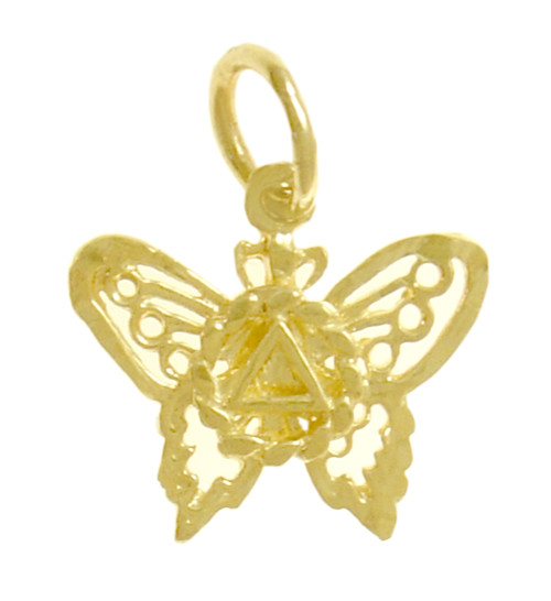 Style #978, 14k Gold Pendant, AA Symbol on a Small Beautiful Butterfly