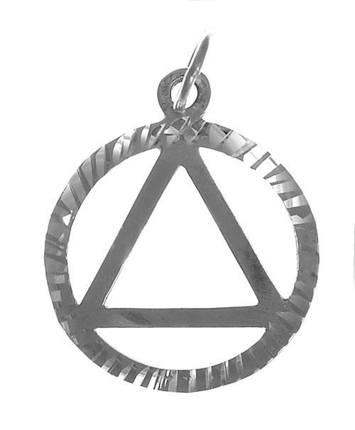 Style #10-1, Sterling Silver, Diamond Cut Circle Pendant, Medium Size