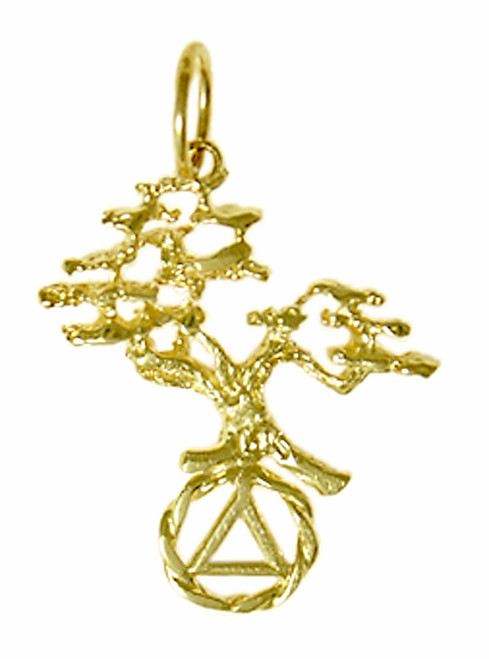 Style #462-5, 14k Gold Pendant, AA Recovery Symbol with a Beautiful Tree of Life