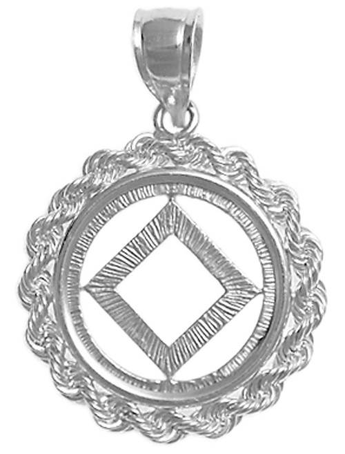 Style #482-9, Sterling Silver, NA Symbol Pendant, Rope Style Circle, Medium Size