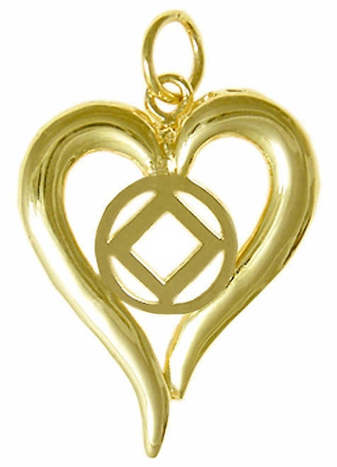Style #397-9, 14k Gold, Heart Pendant with NA Symbol in the Center, Medium Size