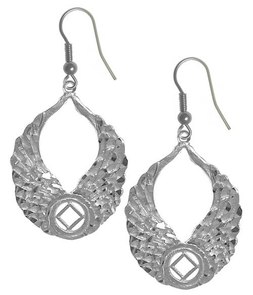 Style #858-13, Sterling Silver Earrings, NA Recovery Symbol with Angel Wings
