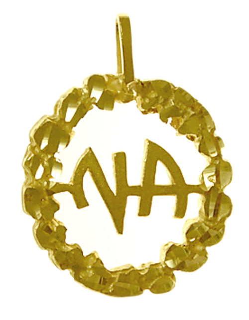 Style #463-11, Medium Size, 14k Gold Pendant, NA Initials in a Nugget Style Circle