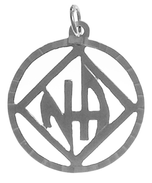"Style #558-11, Sterling Silver Pendant, NA Symbol with ""NA"" Initials inside square, Diamond Cut Accents"