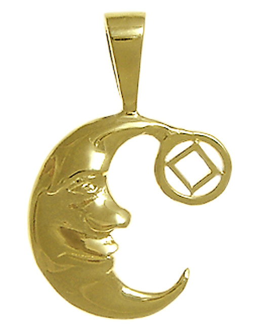 "Style #827-9, 14k Gold, ""Man on the Moon"" Pendant with NA Symbol, Medium Size"