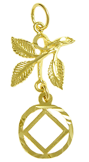 Style #830-9, 14k Gold Pendant, NA Symbol in a Circle with 3 Leaves